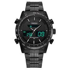 OHSEN Outdoor Sport Black Steel Analog Digital Mens Quartz Wrist Watch AD1701H