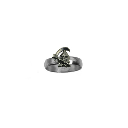 Sterling Silver Halloween Ring Small Grim Reaper Death scythe Skeleton Jewelry