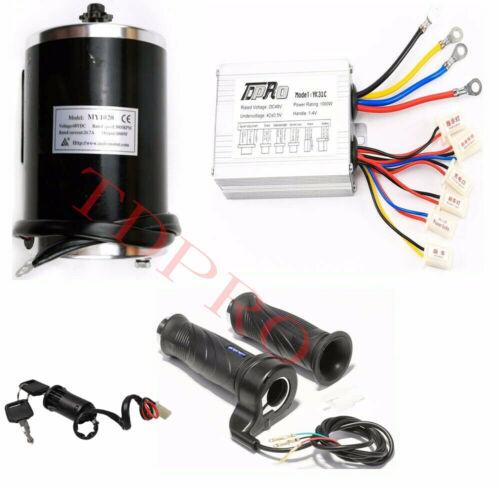 Speed Controller Throttle Grips 48V 1000W Electric Bushed DC Motor Key Lock