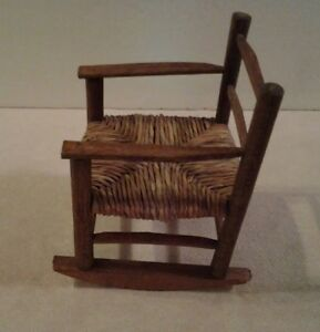 Astonishing Details About Vintage All Wood Doll Or Bear Rocking Chair Twisted Heavy Wicker Seat Mint Machost Co Dining Chair Design Ideas Machostcouk