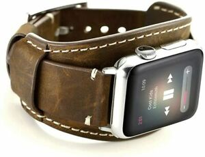 Leotop Compatible with Apple Watch Strap 44mm 42mm, Genuine Leather Band Cuff Cr