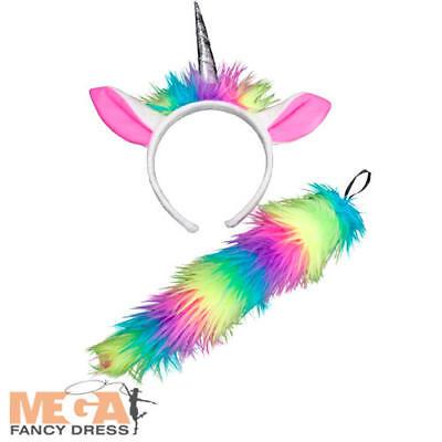 Bambini Unicorno Arcobaleno Orecchie Fascia & Tail Ragazze Costume Libro Day Accessorio-mostra Il Titolo Originale