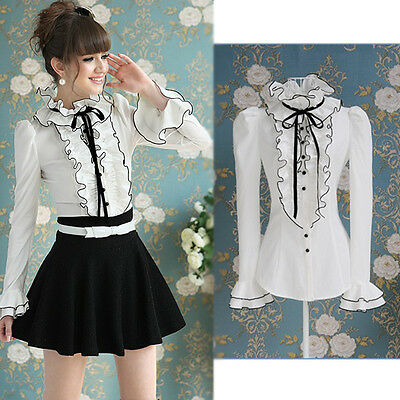 Vintage Victorian Punk White Slim Blouse Frilly Shirt Stand Collar Retro Tops