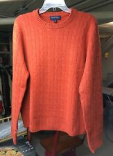 ALLEN SOLLY 100% CASHMERE CABLE KNIT CREW NECK SWEATER ~ MEDIUM ~ BURNT ORANGE