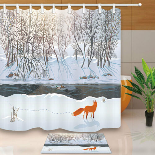 Fox and Dusk in Winter Snow Forest Bathroom Fabric Shower Curtain With Hooks 71/""