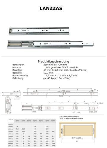 Télescope rails tiroirs extraits Softclose vollauszüge 40 kg 45 mm 700 mm