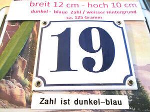 Hausnummer Nr. 19 dunkel-blaue Zahl auf weißem Hintergrund 12 cm x 10 cm Emaille