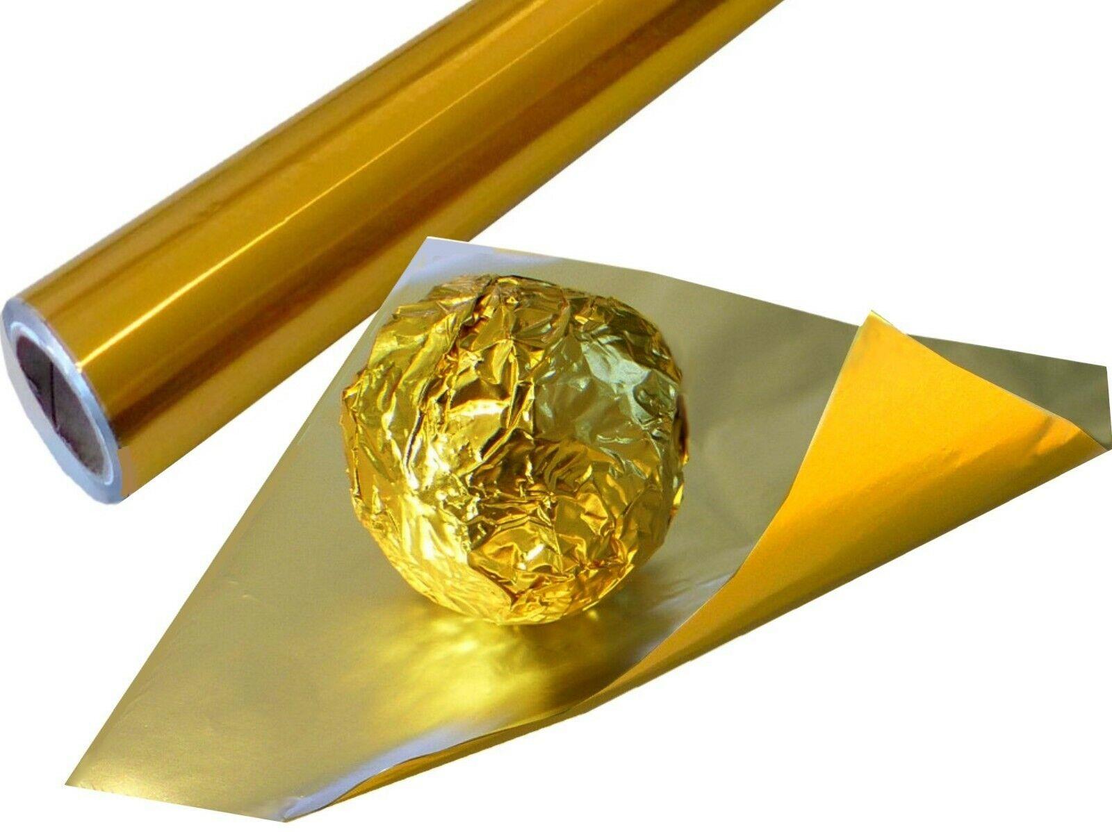 Gold Einwickelfolie Rolle 65m bunte Alufolie f. Schokolade Pralinenfolie
