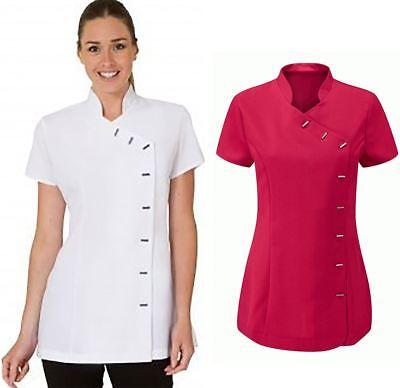 Womens Short Sleeve Beauty Spa Uniform Ladies Fancy Therapist Massage Tunic Top