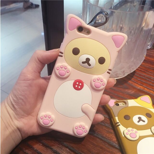 Cute Teddy Rilakkuma Bear Silicone Thin Soft Case Cover For iPhone SE 6 6s Plus