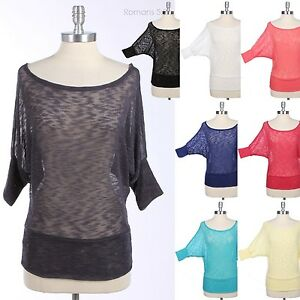 Sheer-Dolman-Batwing-3-4-Sleeve-Off-Shoulder-KNIT-Sweater-Rayon-Top-Blouse-S-M-L