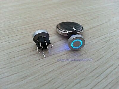 1pc Blue Led Dia 10mm Cap CIRCLE  12V Momentary Tact Push Button Switch