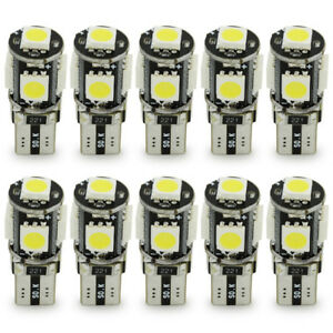 10-LAMPADINE-POSIZIONE-CANBUS-NO-ERRORE-5-LED-SMD-5050-T10-W5W-LUCE-BIANCA-10x