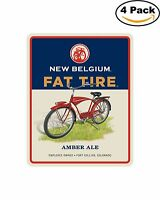 Fat Tire Rect Belgium Beer Alcohol Decal Diecut Sticker 4 Stickers