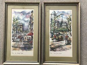 2 Pinturas De Acuarela De 1960s País Francés Arno Calle París Notre Dame Enmarcado Ebay