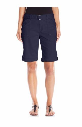 Gloria Vanderbilt Sierra Twill Khaki Stretch Womens Belted Plus Bermuda Shorts