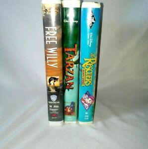 Lot-of-3-VHS-Walt-Disney-Tarzan-Rescuers-Down-Under-Warner-Brothers-Free-Willy