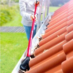 CLEANmaxx-Dachrinnen-Reiniger-Set-3tlg-Schaufel-Harke-amp-Verlaengerung-rot-schwarz