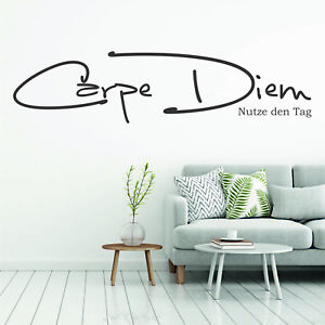 wandtattoo wandsticker wandaufkleber wohnzimmer carpe diem nutze den tag wt026 ebay. Black Bedroom Furniture Sets. Home Design Ideas