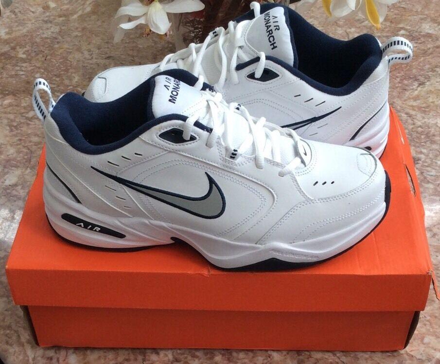 Nike Air Monarch Hombre Zapatos Blanco Leather Athletic Corriendo Zapatos Hombre talla 9,5 964017