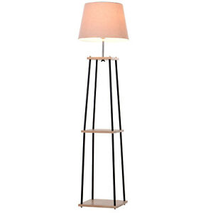 Lampade Da Terra In Legno.Homcom Lampada Da Terra In Legno E Metallo Con Paralume 40 X 40 X