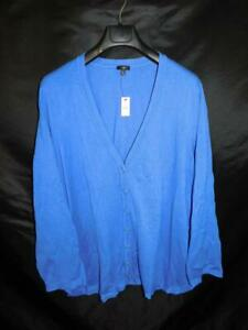Talbots-3X-NWT-Blue-Cardigan-Sweater-V-Neck-Button-Front-Cotton-Knit-Curved-Hem