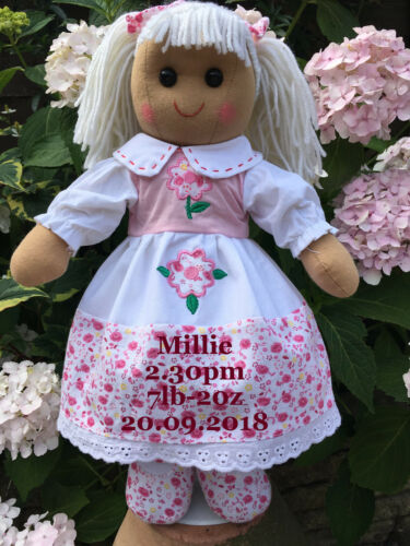 PERSONALISED FLORAL RAG DOLL FOR NEW BABY GIRL 16 BIRTH RECORDS DETAILS