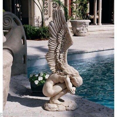 WINGED ANGEL SCULPTURE STATUE Mourn Memorial Emotional Outdoor Garden Cherub Mom