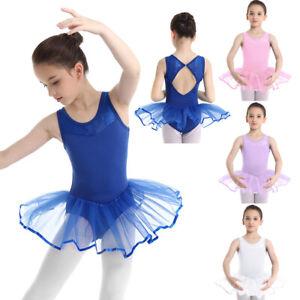 UK Kids Girl Ballet Dance Dress Tutu Skirt Gymnastic Leotard Ballerina Dancewear