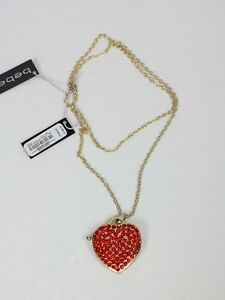 """Bebe necklace Watch charm necklace red crystal 32"""" 192124"""