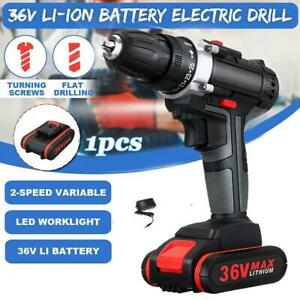 36V-Cordless-Brushless-Drill-Tool-Set-Double-25-Speed-Torque-amp-Li-ion-Battery