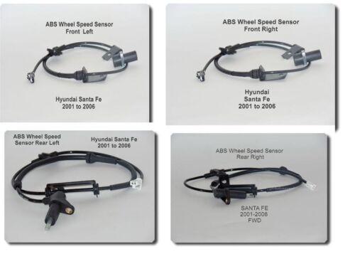 4 ABS Wheel Speed Sensor  Front-Rear Left /& Right Fits Hyundai Santa Fe 01-06