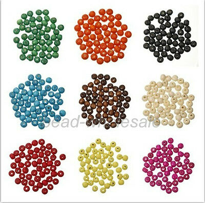 300pcs wholesale Great Round Wood  Spacer Loose Beads 7*8mm for Jewelry making
