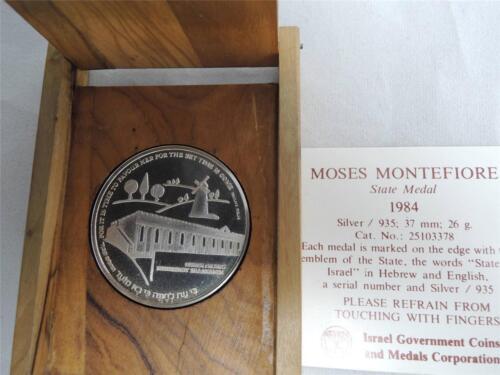 ISRAEL 1984 MOSES MONTEFIORE JERUSALEM MEDAL 37mm 26g SILVER COA+OLIVE WOOD BOX