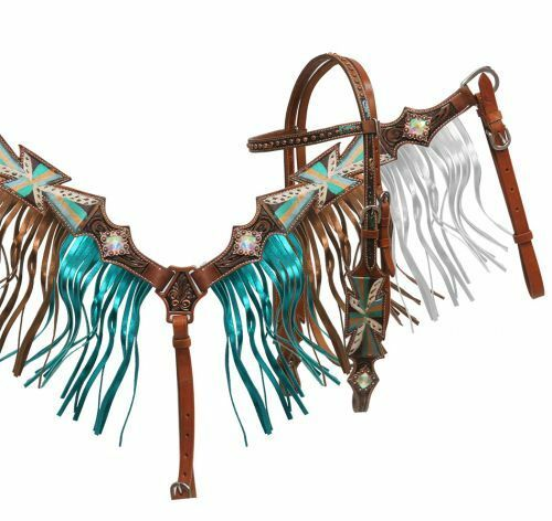 Painted Cross Headstall, Reins & Metallic Fringe Breast Collar Set NEW