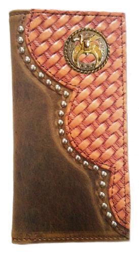 Custom Long Buckskin Rodeo Basket Weave Leather Wallet Made in USA