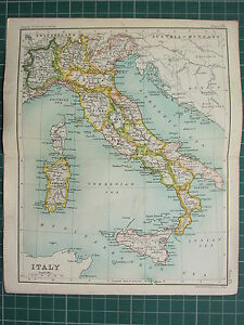 1904 SMALL MAP ITALY SARDINIA SICILY ROME TUSCANY EMILIA APULIA