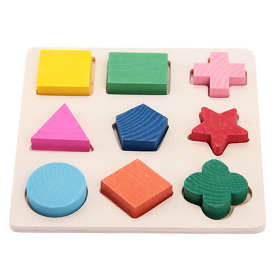 Jigsaw Puzzles Wooden Kids Childeren Preschool Educational Toys 9 Shapes