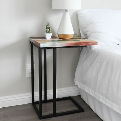 C Table Bedside Desk Colored Reclaimed Wood Metal Legs Nightstand