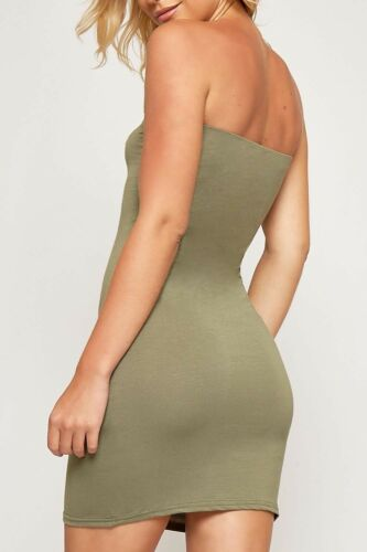 Womens Boob Tube Stretch Sleeveless Top Ladies Mini Bodycon Pencil Dress