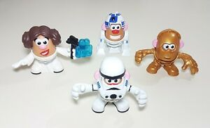 Lot of 4 Mini Mr. Potato Head Star Wars ~ Princess Leia Stormtrooper R2-D2 C3PO