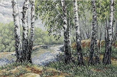 IN THE SHADOW OF BIRCH Counted Cross Stitch Kit MP STUDIO