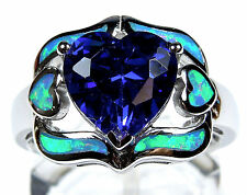 3.80 Carat Tanzanite /& Blue Fire Opal Inlay 925 Sterling Silver Pendant Necklace