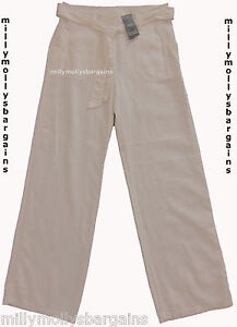 New Womens Marks /& Spencer White Linen Wide Leg Trousers Size 14 12 10 8