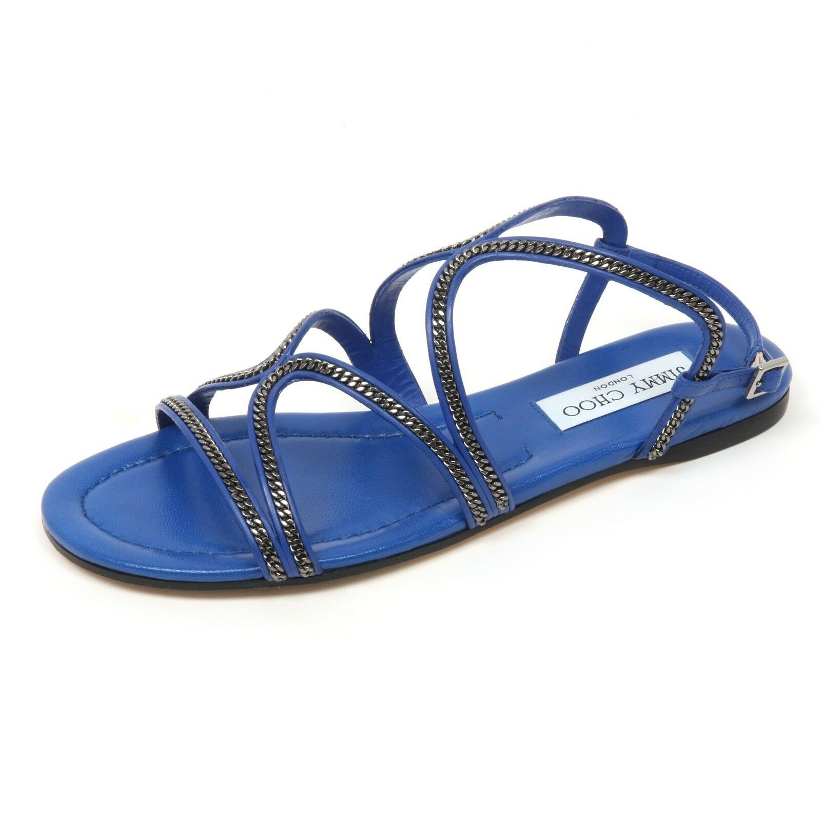 C8942 Sandal donna  Jimmy Choo Nickel Flat scarpe Cobalt blu scarpe Donna  acquista online