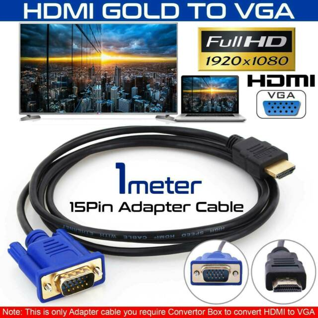 HDMI to VGA Cable HDMI Gold Male To VGA HD-15 Male 15Pin Adapter Cable YK