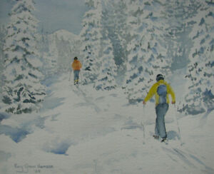 1980-CASCADE-MOUNTAIN-SKIING-Watercolor-Painting-KATY-GRANT-HANSON-Oregon-Artist