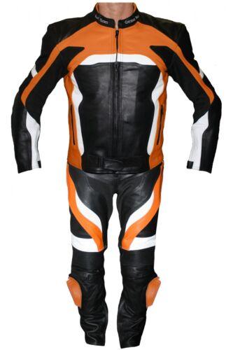 GERMANWEAR, 2-Divider Motorcycle Combi Biker Leather Combi From Cowhide Black/Orange
