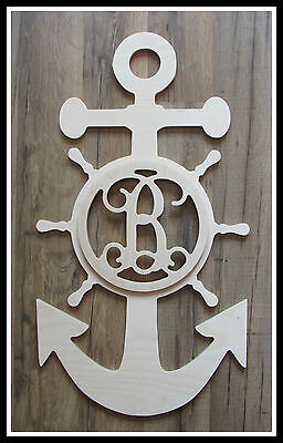 "Nautical Door Hanger - Unpainted Wooden Letter - 22"" size - Monogram Anchor"