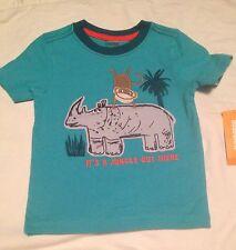 Gymboree Safari Ranger Boys T-shirt Size 12-18 Months Monkey Rhino Nwt